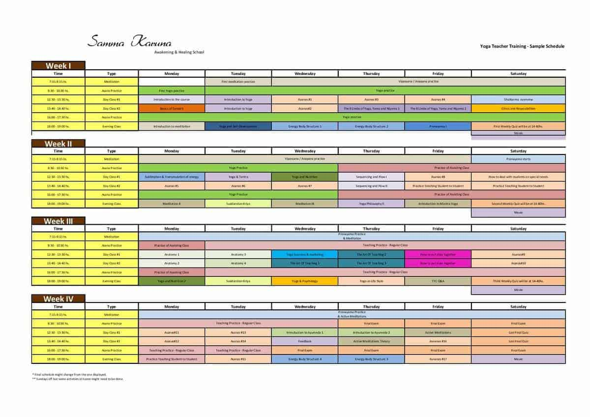 Yoga Teacher Training Sample Schedule